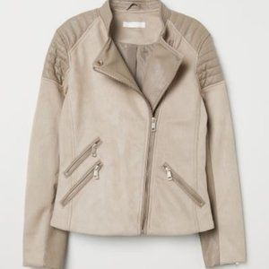 NWT H&M Moto Jacket Light Taupe 12